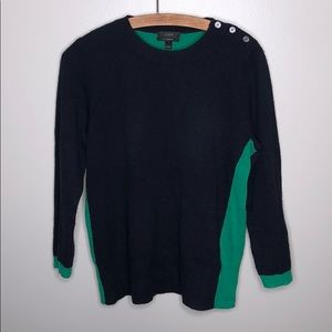 J. Crew Blue and Green Cashmere Crewneck Sweater
